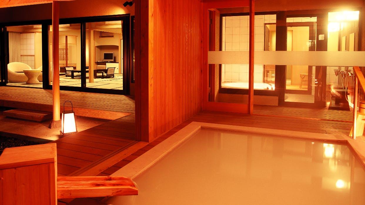 部屋付き露天風呂で味わう、仙石原の白濁湯