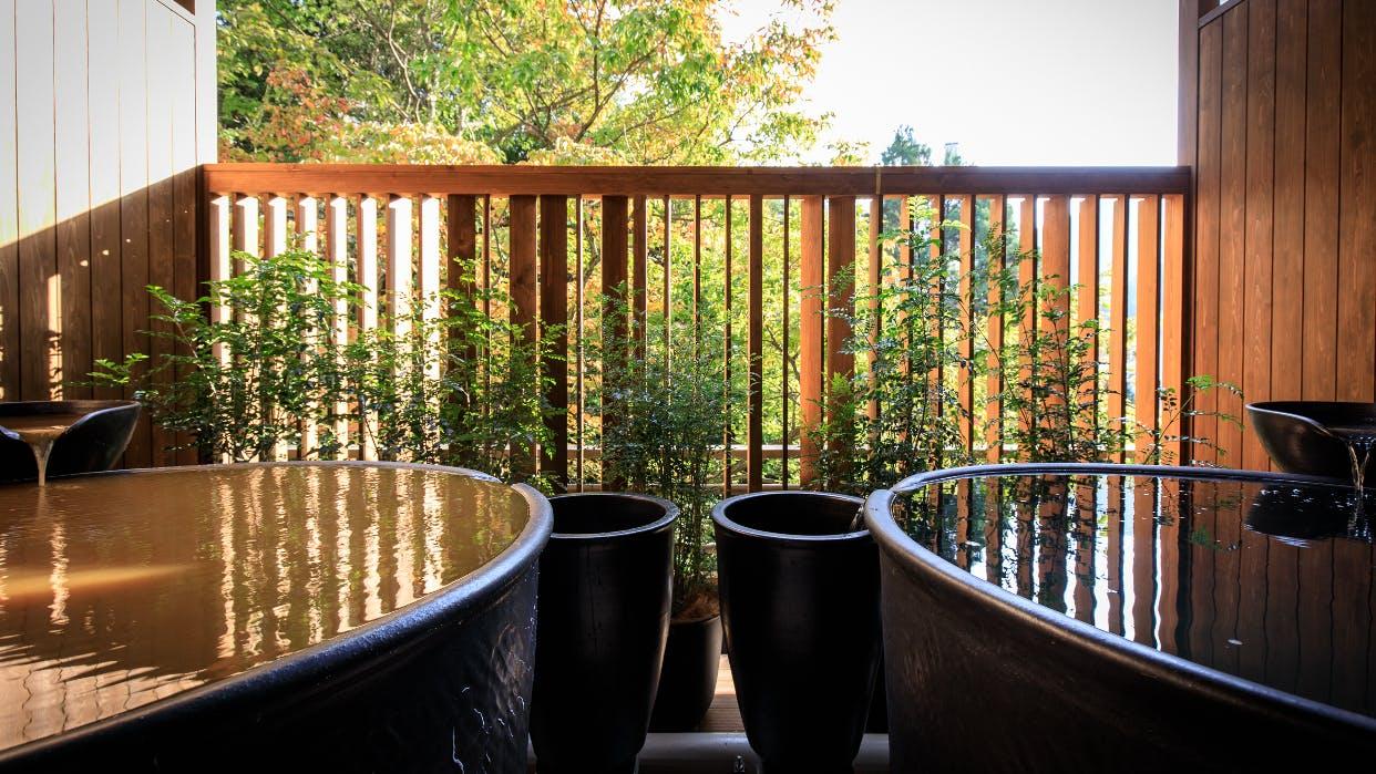 金泉と銀泉、2つの露天風呂付き貴賓室でくつろぐ有馬の夜