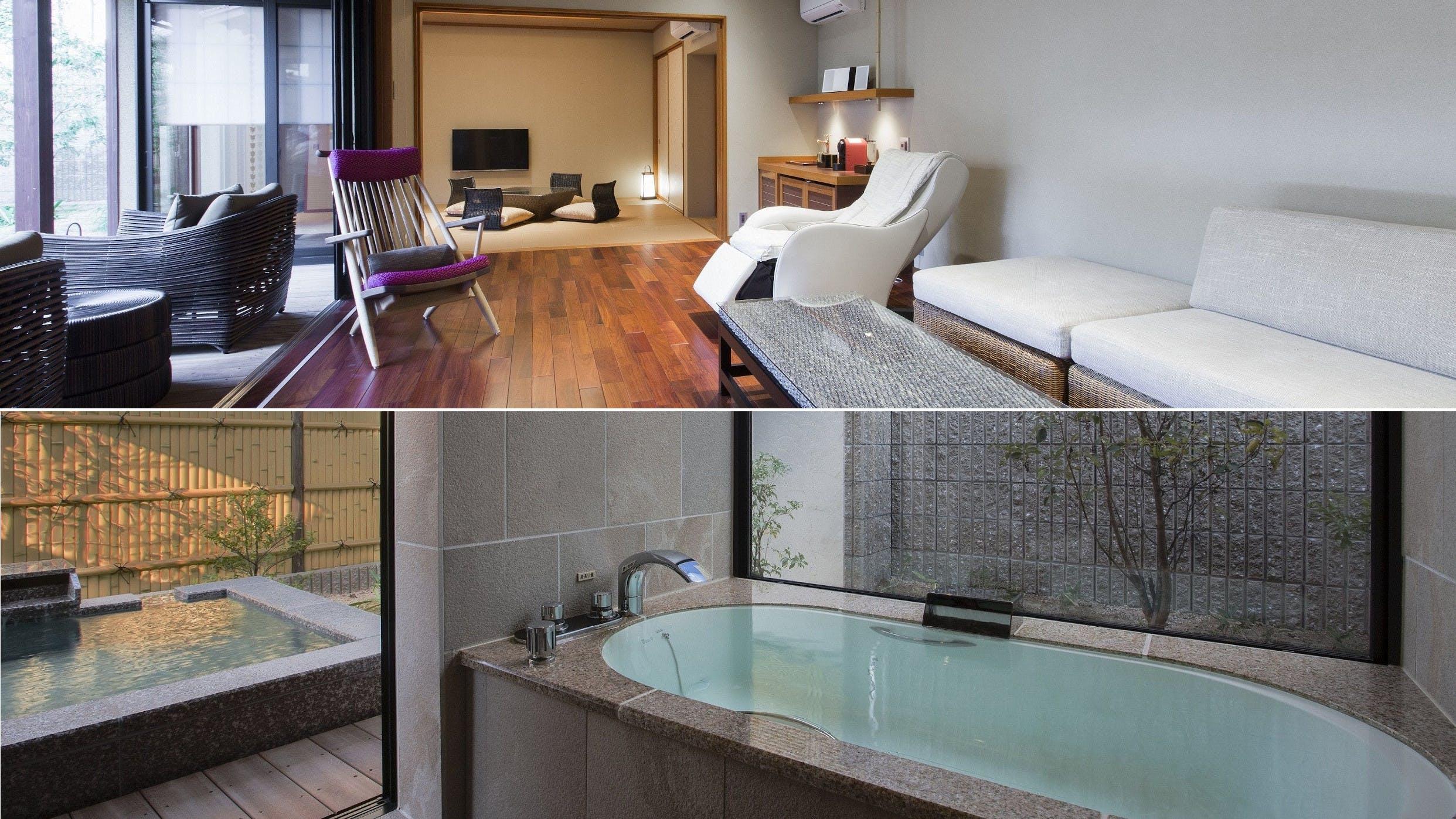 温泉露天風呂が備わる100平米以上のスイートルーム